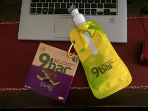 9bar soft water bootl and Fruity flavour bars. Gift from 9bar for signing up for the 9bar9x9 event.