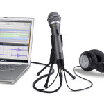 Image of microphone, laptop and headphone