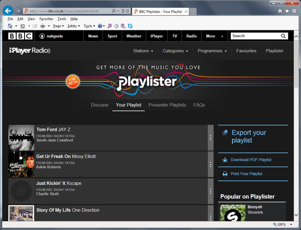 Screenshot of BBC Playlister with a small playlist added