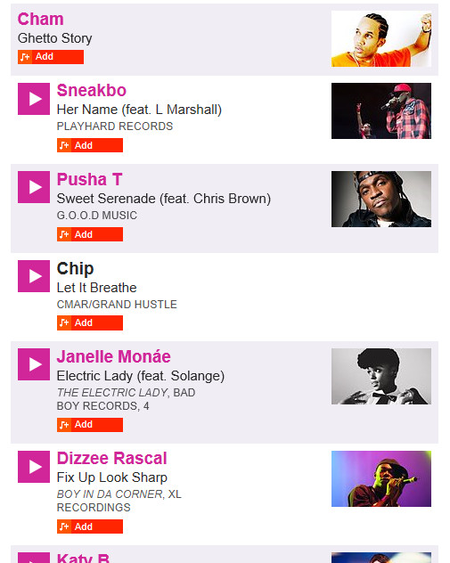 Screenshot of Add function for BBC Playlister