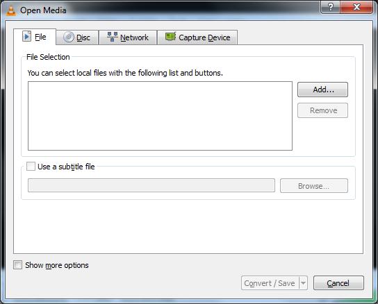 VLC Media Player - Convert/Stream Menu