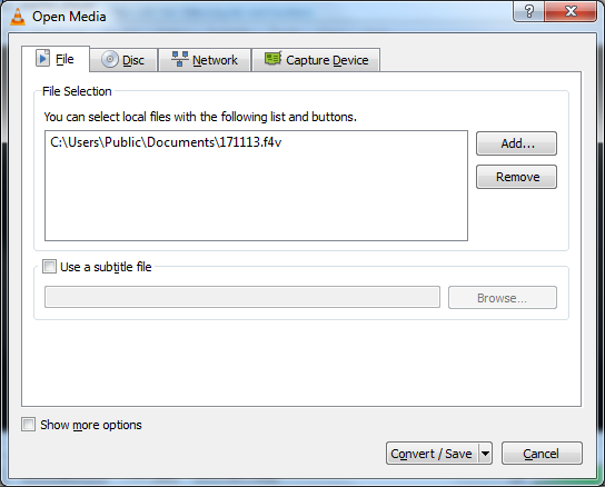 Select F4V file to extract audio from