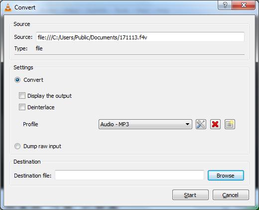 VLC Media Player - Convert/Save Menu