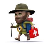 Cartoon image runner carrying everything on a ultramarathon mandatory kit list