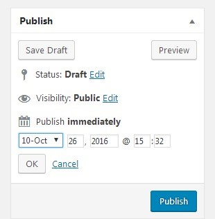 Each post in WordPress lets you set a date and time of publication to occur in the future.