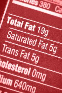 Part of a food label showing fat contents